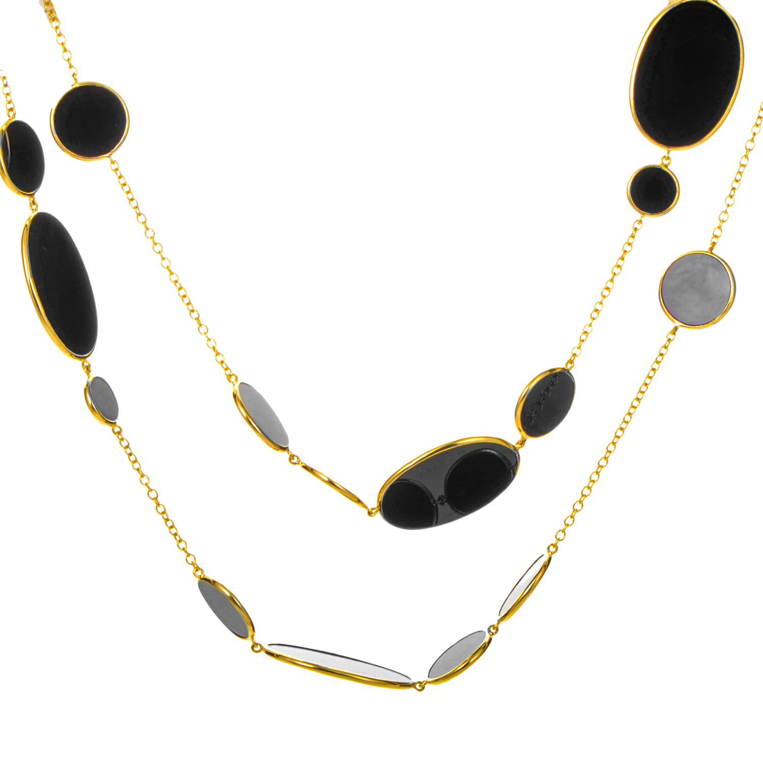 18K Yellow Gold Rock Candy Onyx Necklace GN396NX