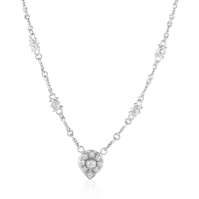 Judith Ripka 18K White Gold & Diamond Pendant Necklace