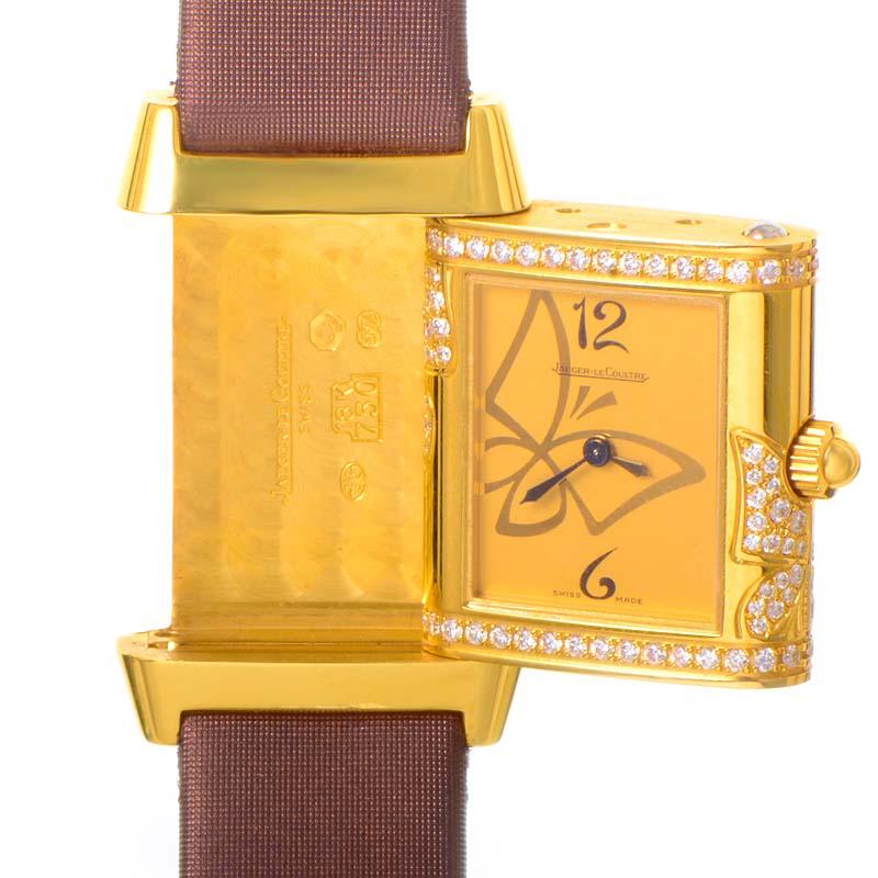 Jaeger Lecoultre Reverso Florale Melibee 18K Yellow Gold Quartz 265.14.08 Q2651408