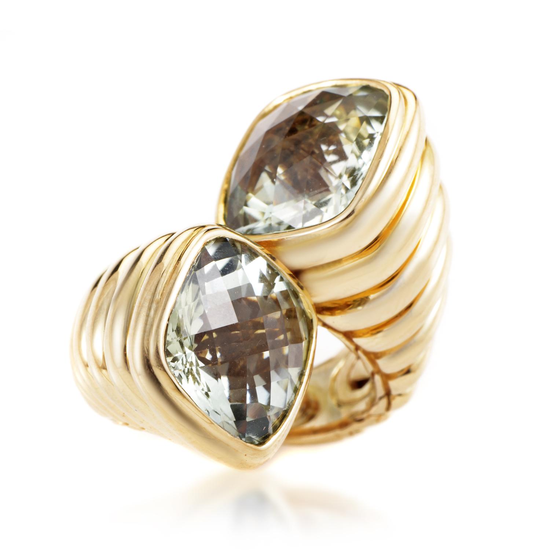 John Hardy Bedeg Sterling Silver & Green Amethyst Bypass Ring