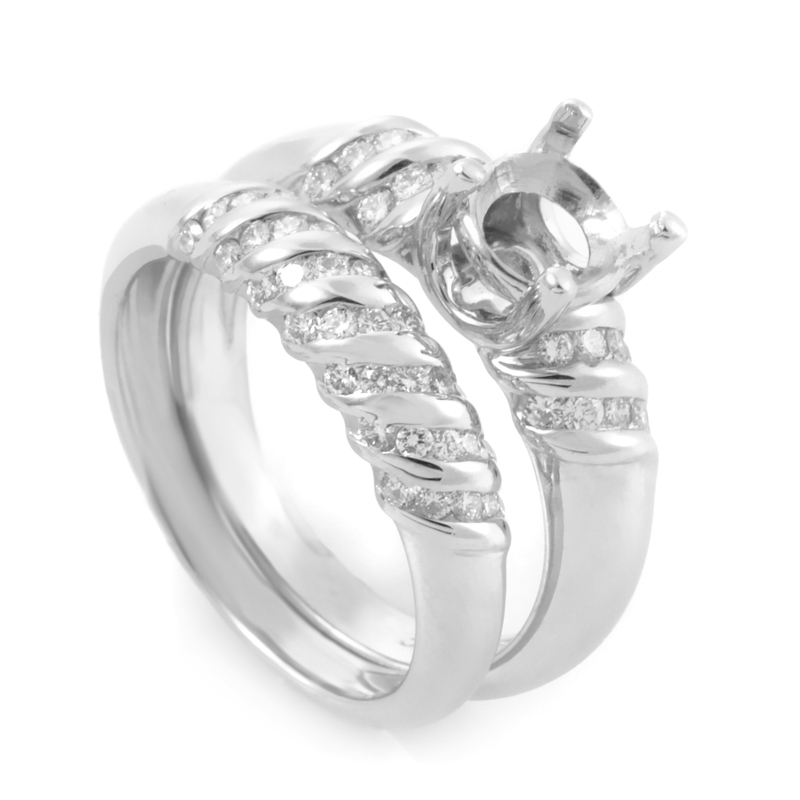18K White Gold Diamond Bridal Mounting Set JHE01-022514
