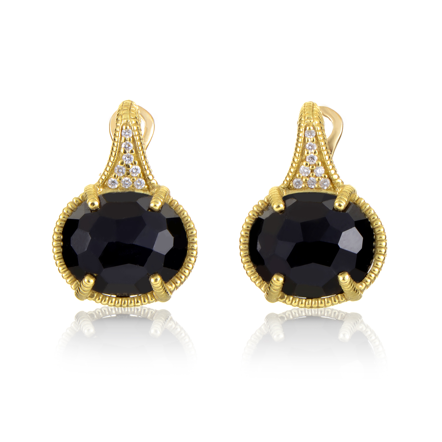 18K Yellow Gold Diamond & Smokey Quartz Earrings