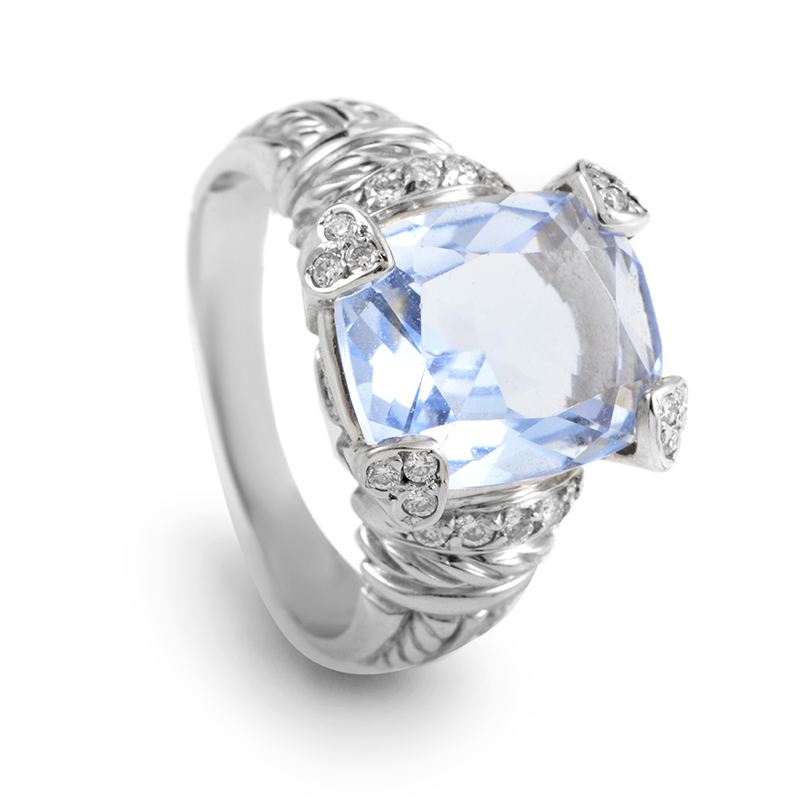 Judith Ripka Women's 18K White Gold Diamond & Blue Quartz Ring