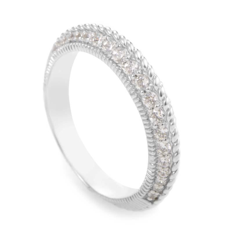 Judith Ripka Women's 14K White Gold Diamond Band Ring RB4-10028W