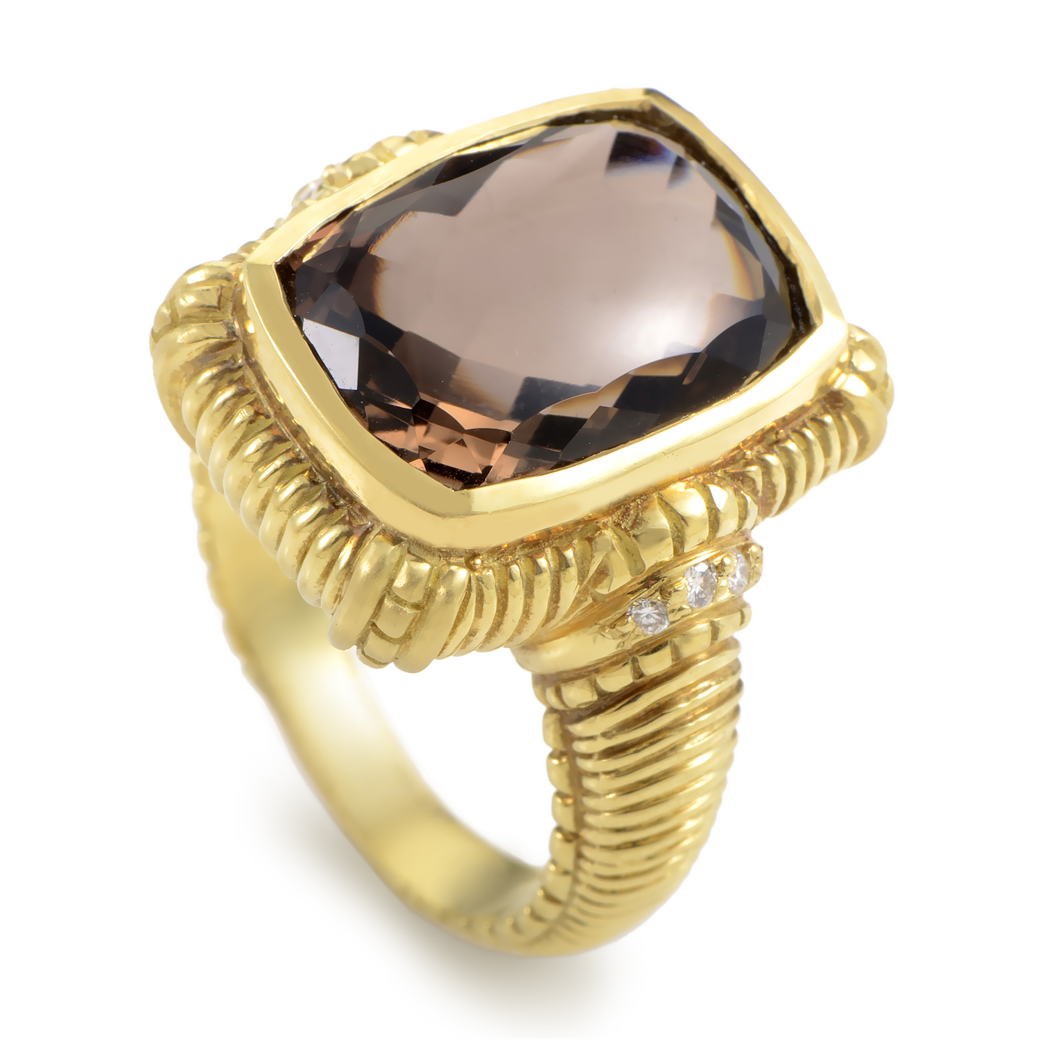 Judith Ripka 18K Yellow Gold Diamond & Smokey Topaz Ring