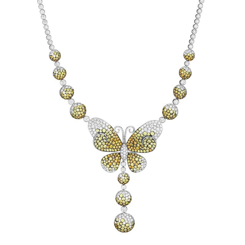 18K White Gold Diamond & Multi Sapphire Monarch Necklace