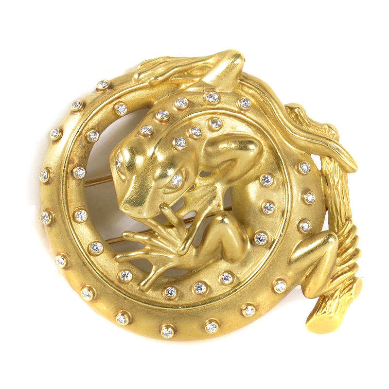 Kieselstein-Cord 18K Yellow Gold & Diamond Coiled Lizard Brooch