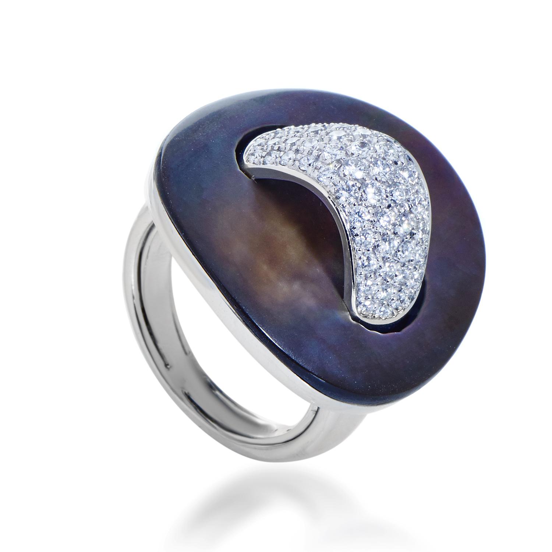 Roberto Coin Women's 18K White Gold Black Mother of Pearl & Diamond Ring