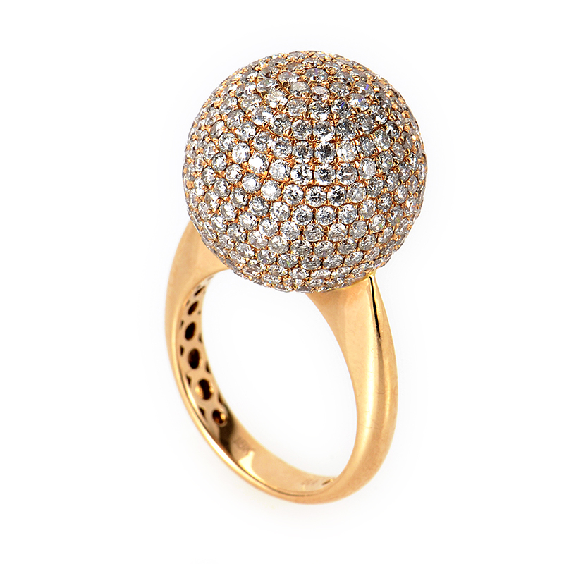 18K Rose Gold Diamond Set Sphere Ring