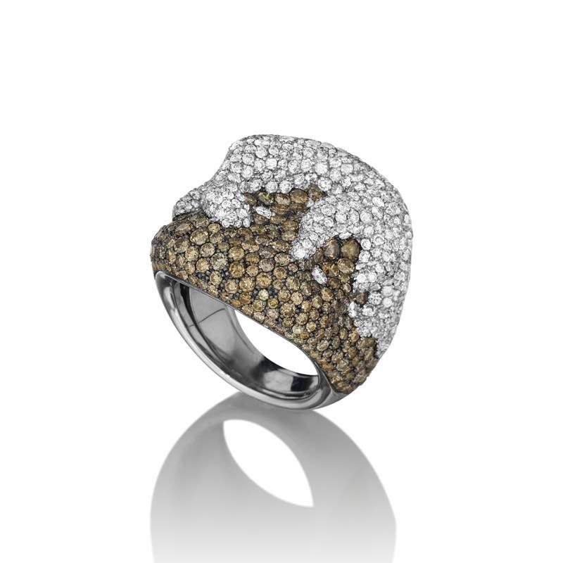 18K White Gold Multi Diamond Flaming Soul Ring
