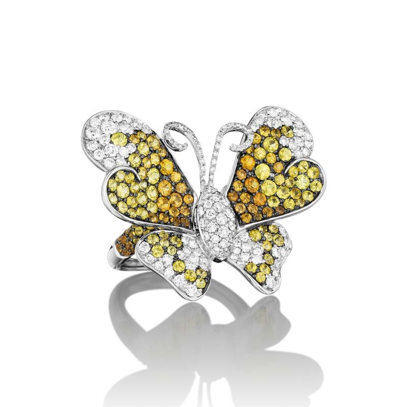 18K White Gold Diamond & Multi-Sapphire Butterfly Ring