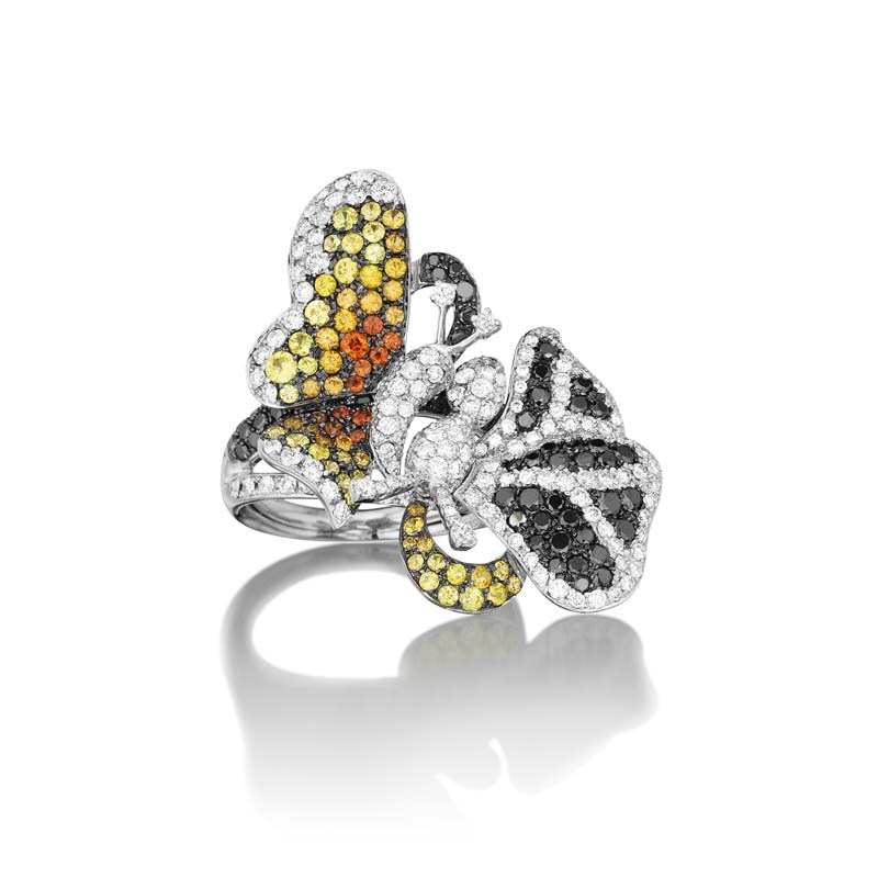 18K White Gold Multi Diamond & Sapphire Butterfly Duet Ring
