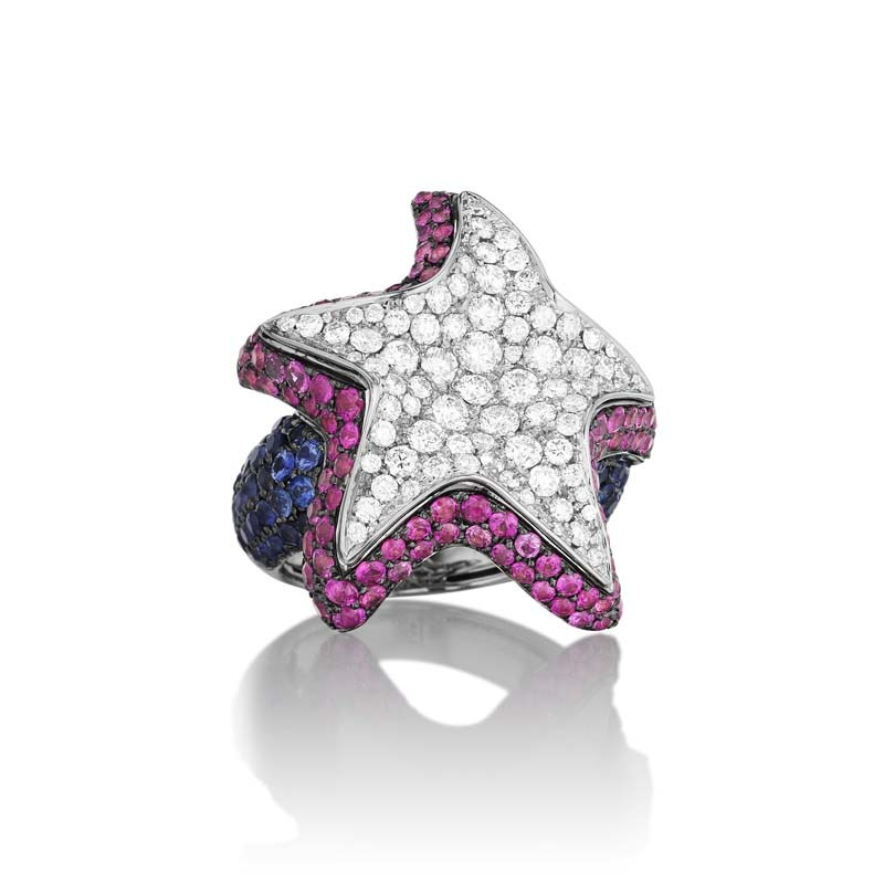 18K White Gold Diamond & Multi Sapphire Brilliant Star Ring