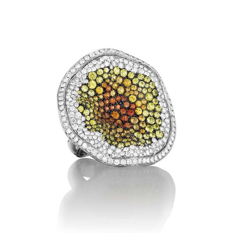 18K White Gold Diamond & Sapphire Sunset Ring