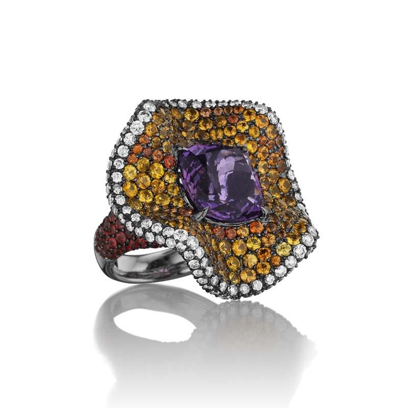 18K White Gold Purple Blossom Ring