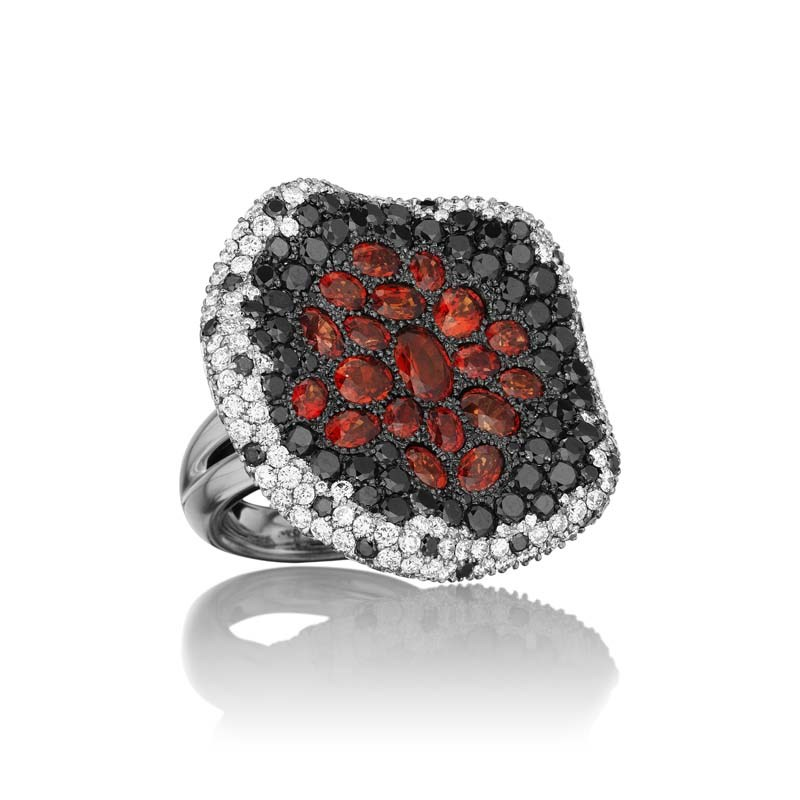 18K White Gold Orange Sapphire Lava Ring