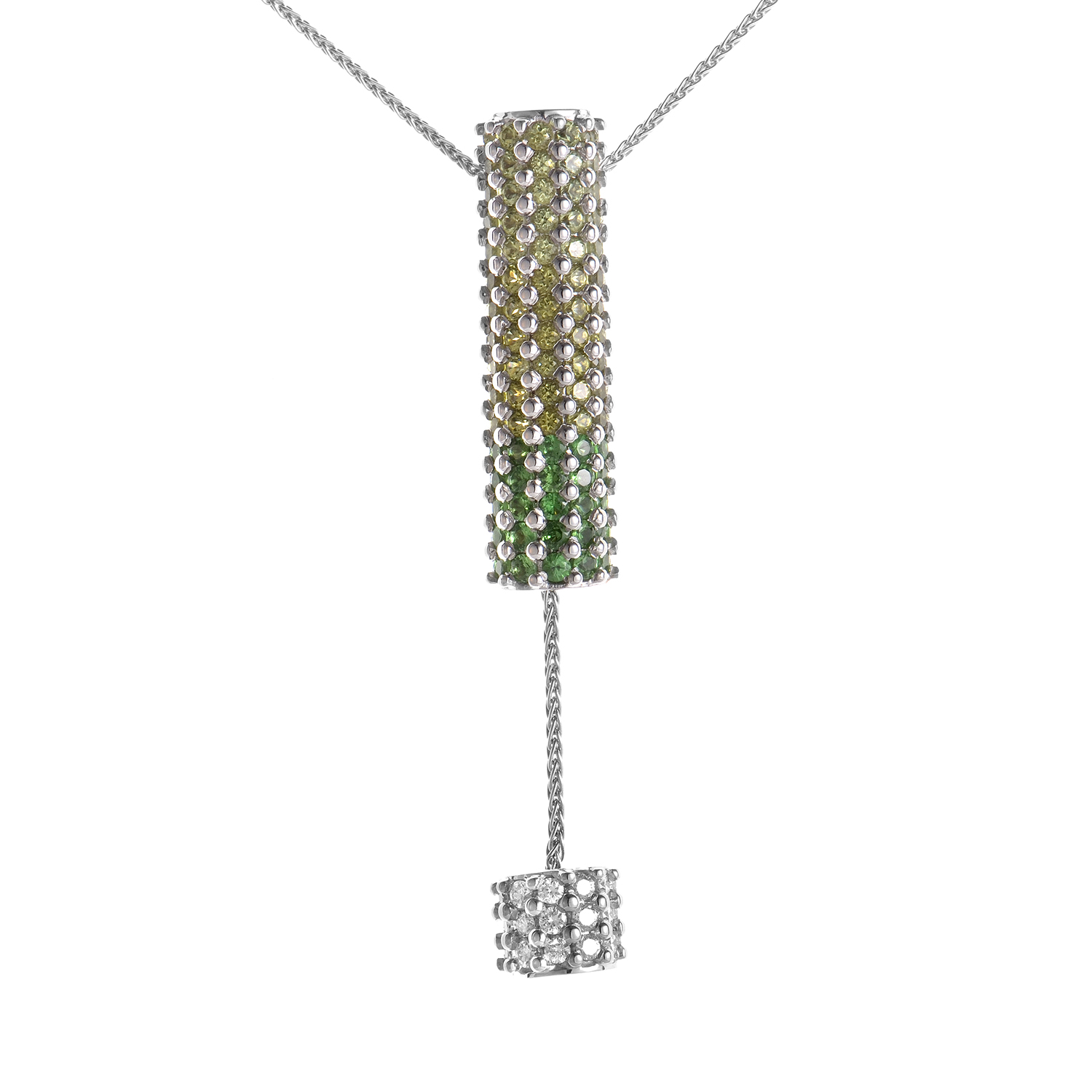 18K White Gold Green Gemstone Pendant Necklace
