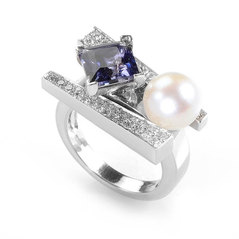 18K White Gold Iolite and Pearl Ring