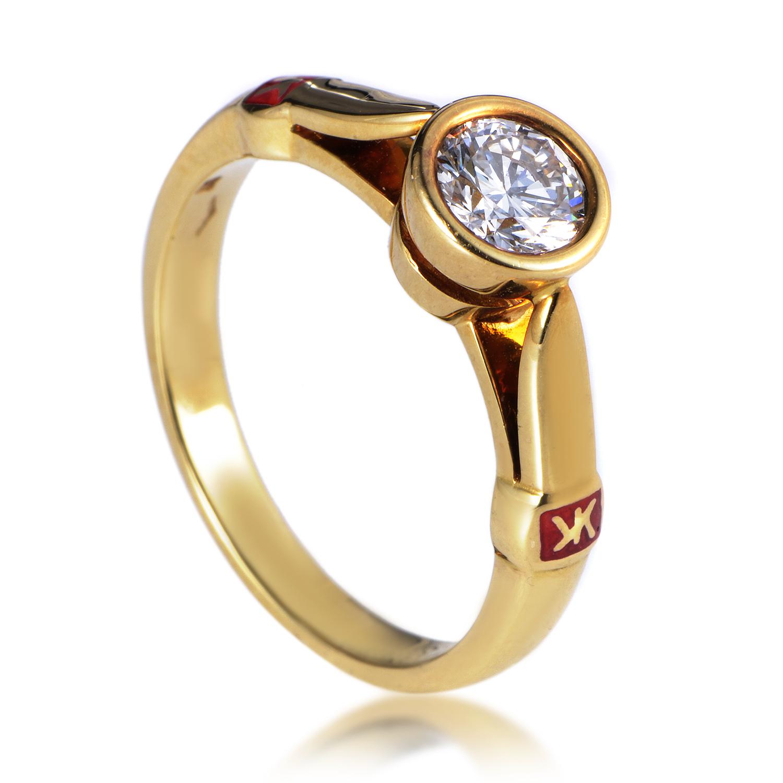Korloff 18K Yellow Gold .60ct Diamond Solitaire Engagement Ring