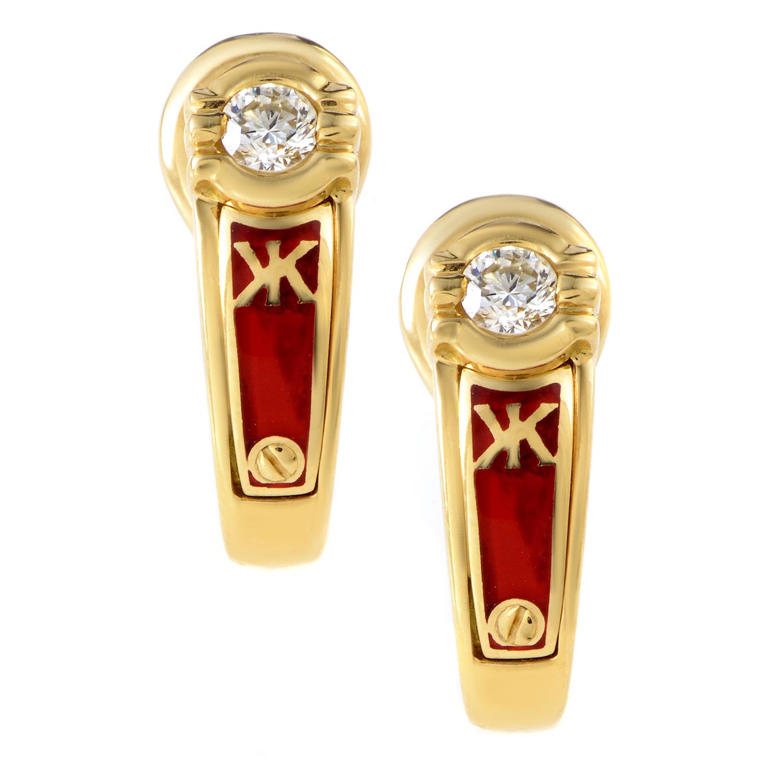 Korloff 18K Yellow Gold Diamond & Enamel Huggie Earrings