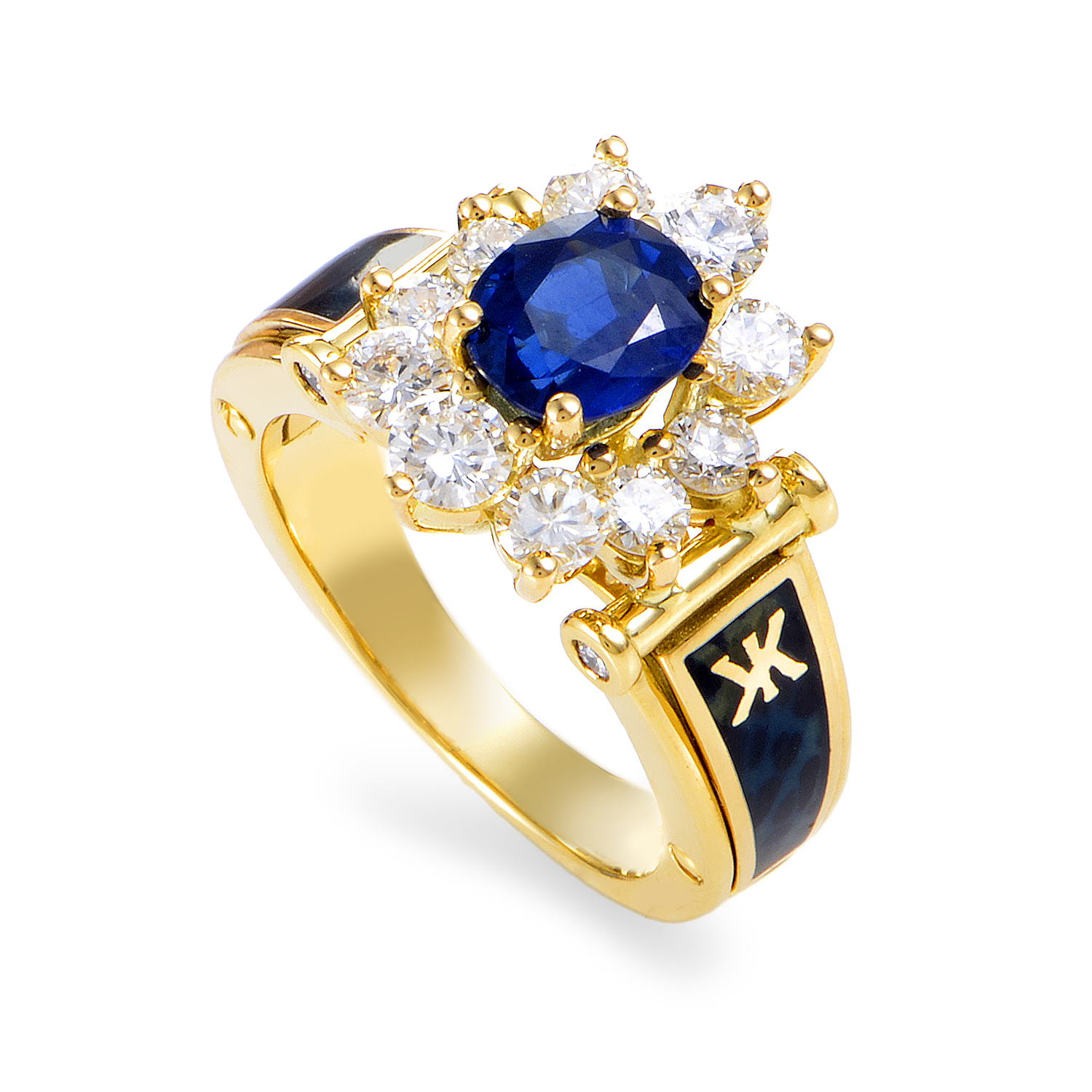 Korloff Women's 18K Yellow Gold Diamond & Sapphire Enameled Ring