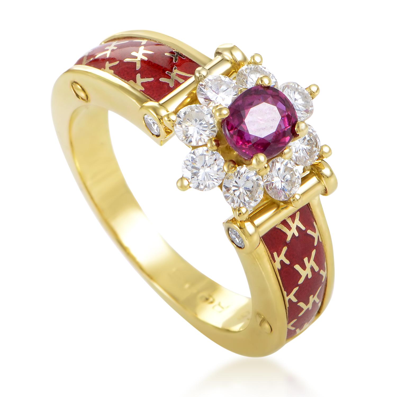 Korloff Women's Enameled 18K Yellow Gold Diamond & Ruby Ring