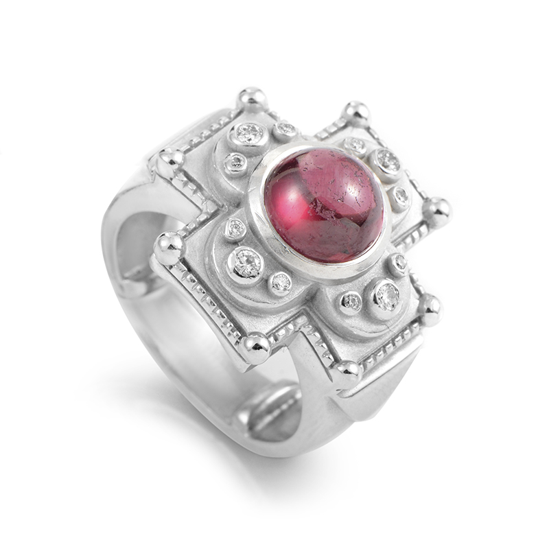 Kieselstein-Cord Women's 18K White Gold Tourmaline & Diamond Carved Cross Ring