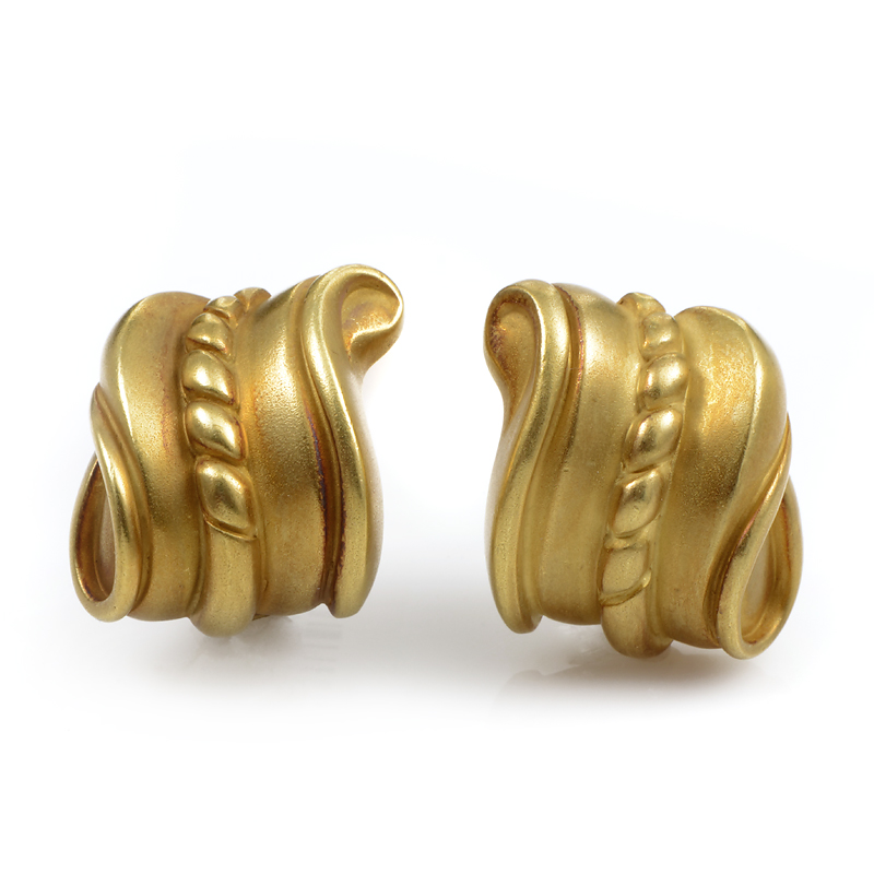 Kieselstein-Cord 18K Yellow Gold Carved Huggie Earrings
