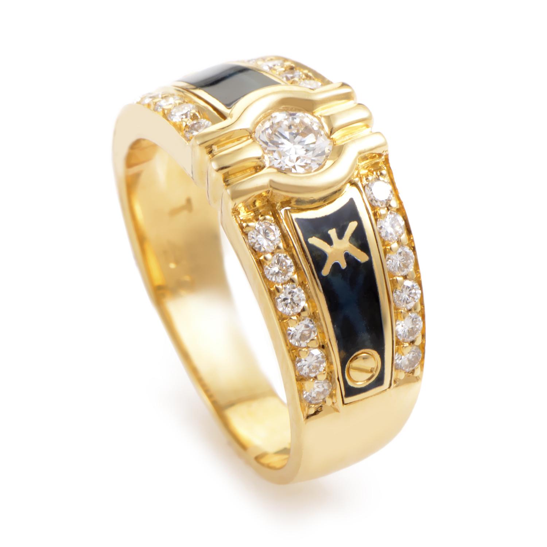 Korloff 18K Yellow Gold Diamond & Black Enamel Ring