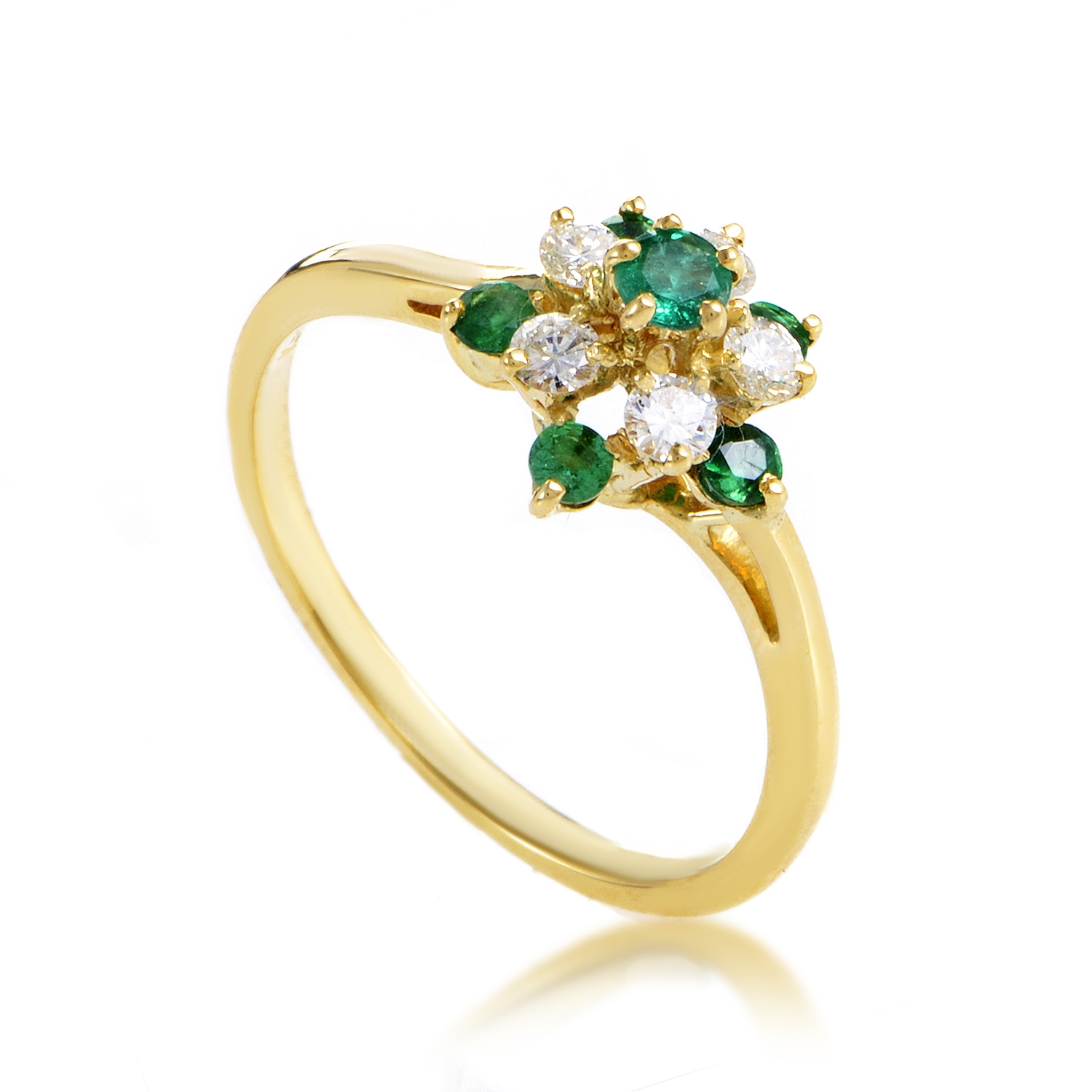Kutchinsky Women's 18K Yellow Gold Diamond & Emerald Cluster Ring