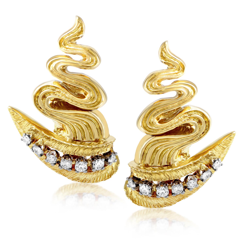 Ilias Lalaounis 18K Yellow Gold Diamond Large Zigzag Clip-on Earrings AK1B2665