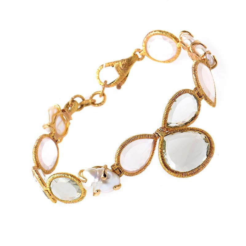 Women's 18K Yellow Gold Multi-Quartz & Pearl Bracelet