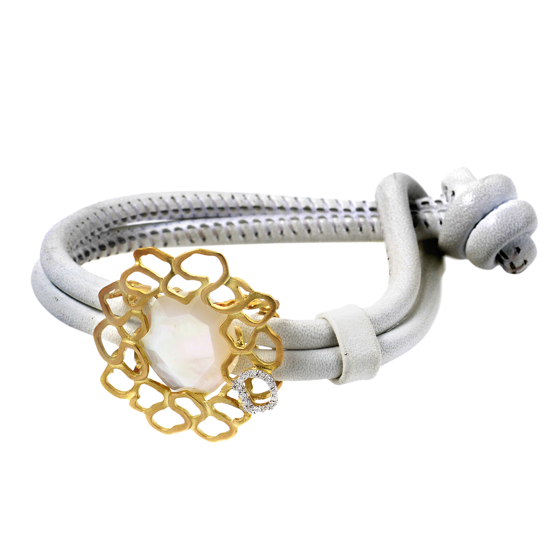 LeaderLine 18K Yellow Gold Mother of Pearl & Diamond Leather Bracelet
