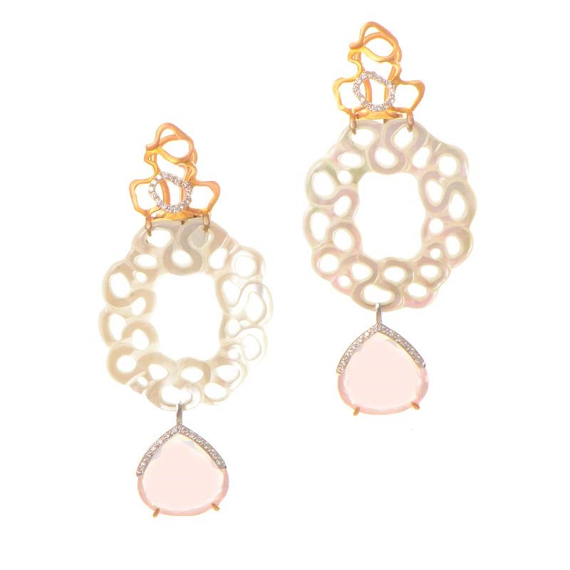 18K Rose Gold Lace Mother of Pearl & Pink Quartz Earrings