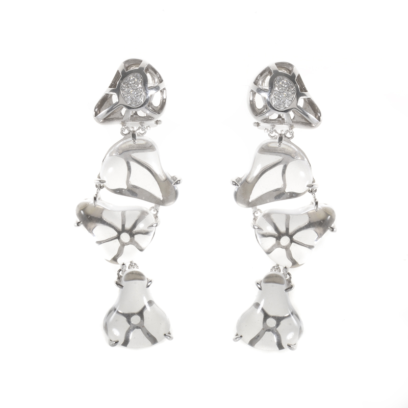 18K White Quartz Diamond Drop Earrings ER8-032954