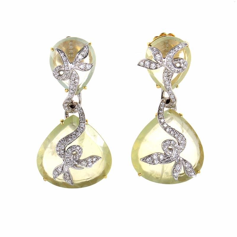 18K Multi Gold Green Quartz & Diamond Earrings