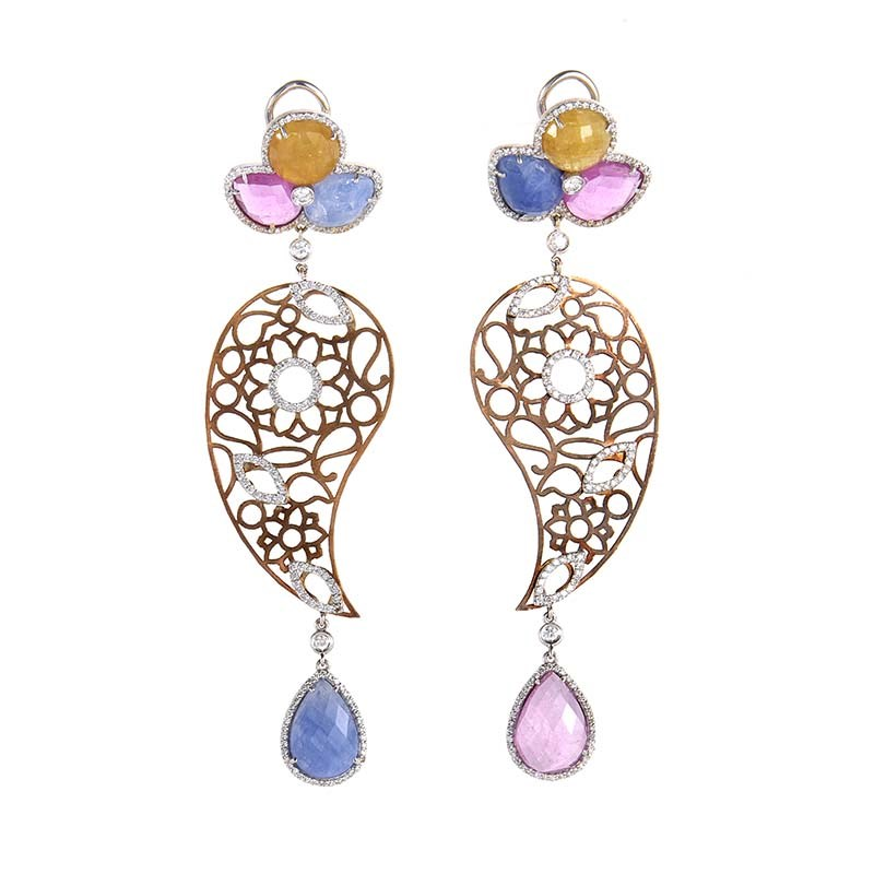 18K Multi-Gold Sapphire & Diamond Drop Earrings