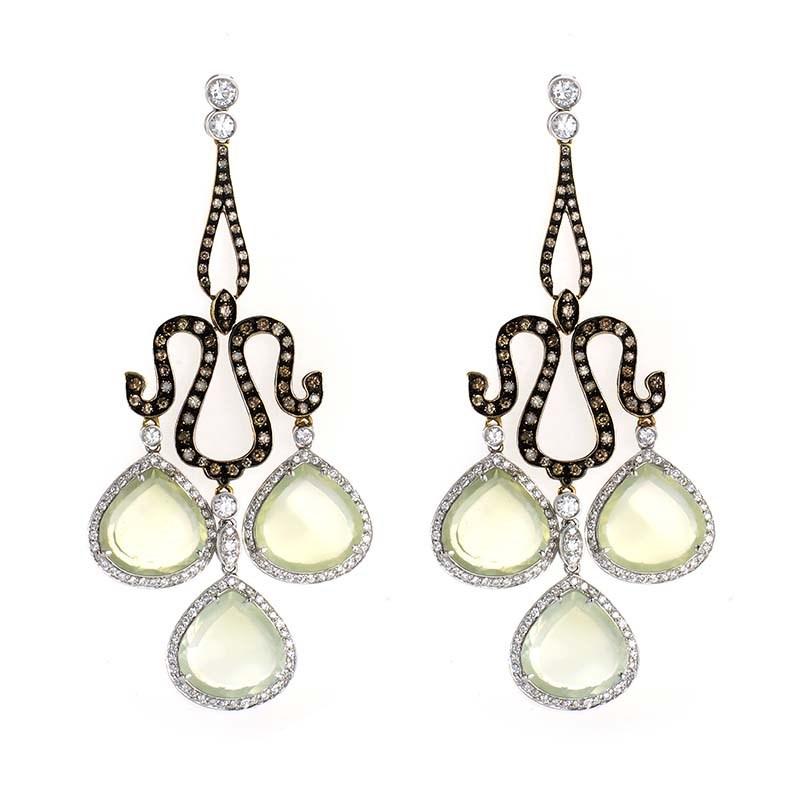 18K Multi Gold Green Quartz & Diamond Earrings ER8-37265GQ