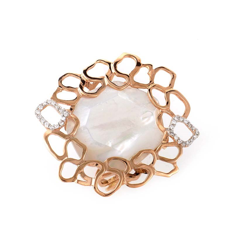 18K Rose Gold Mother of Pearl & Diamond Ring