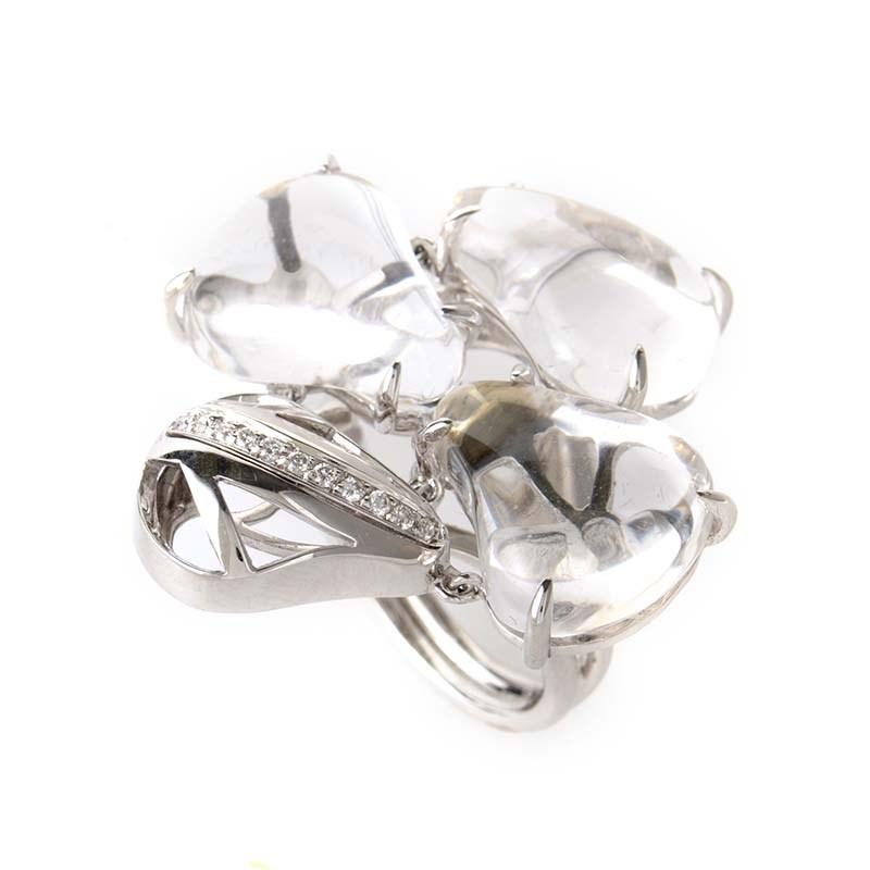 18K White Gold White Quartz & Diamond Ring LF8-022733