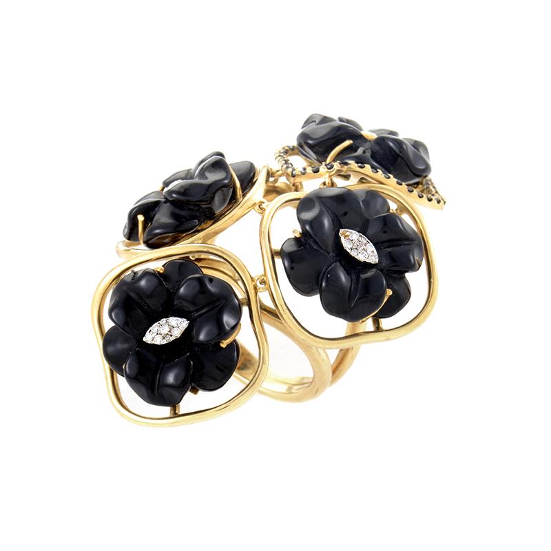 18K Yellow Gold Multi-Diamond & Onyx Flower Ring LF8-052648