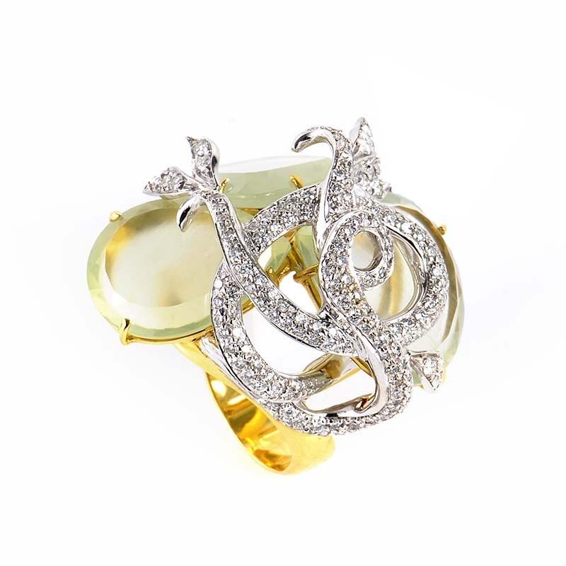 18K Multi Gold Green Quartz & Diamond Ring LF8-14587GQ