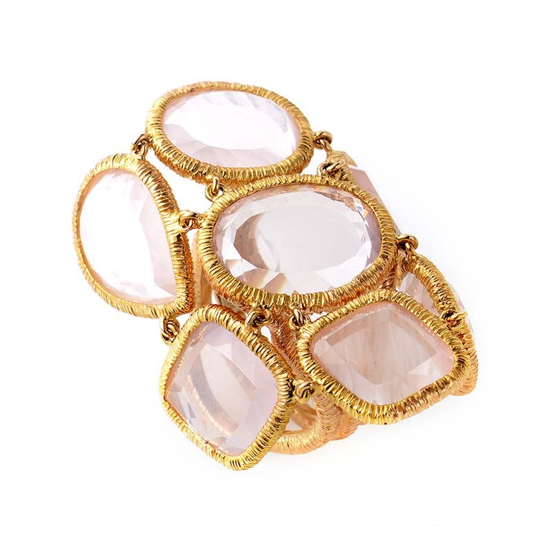 18K Rose Gold Pink Quartz Ring