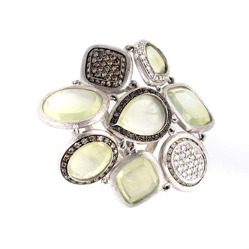 18K White Gold Green Quartz & Multi Diamond Ring LR8-14025GQ