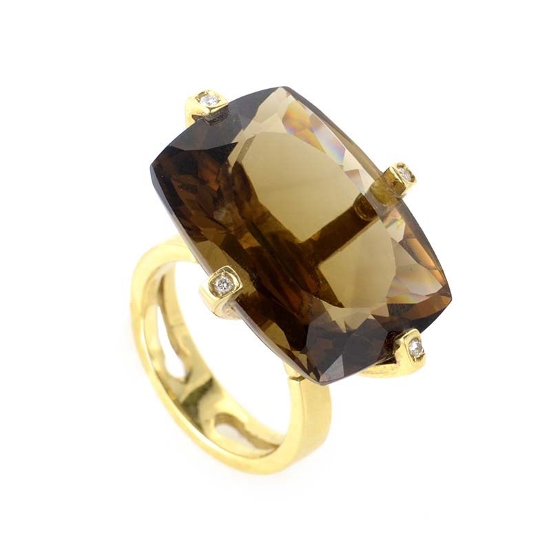 18K Yellow Gold Smoky Topaz & Diamond Ring