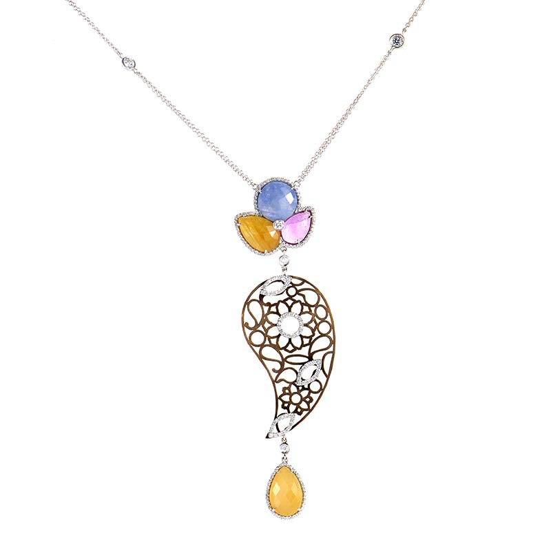18K Multi Gold and Sapphire Diamond Pendant Necklace