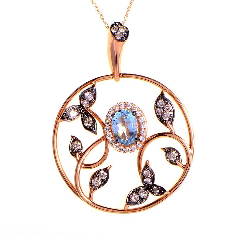 14K Rose Gold Aquamarine and Diamond Leaf Pendant Necklace