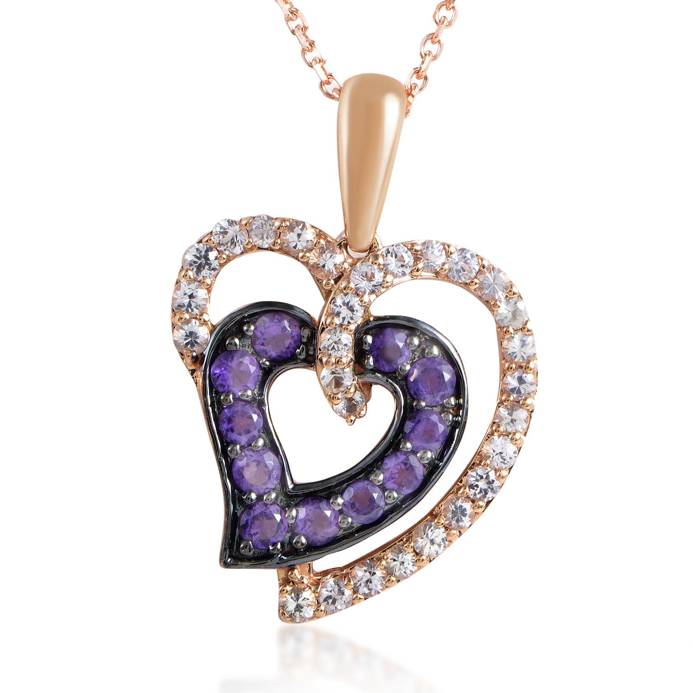 Women's 14K Rose Gold White Sapphire & Amethyst Heart Pendant Necklace
