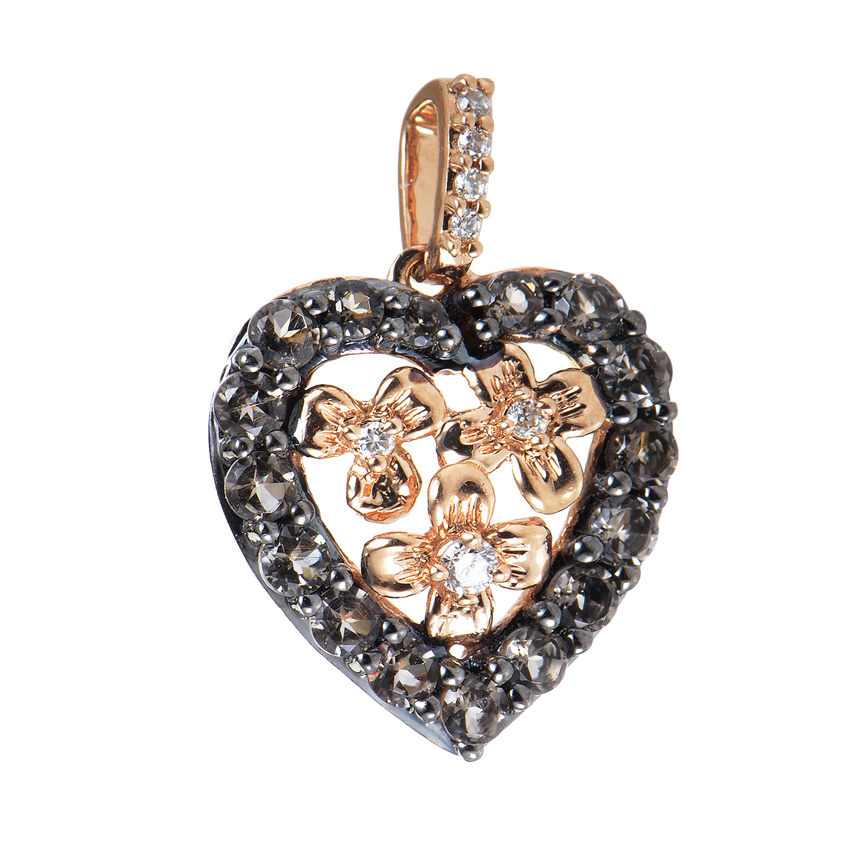 Women's 14K Rose Gold Diamond & Smokey Quartz Heart Pendant LEV11-072216