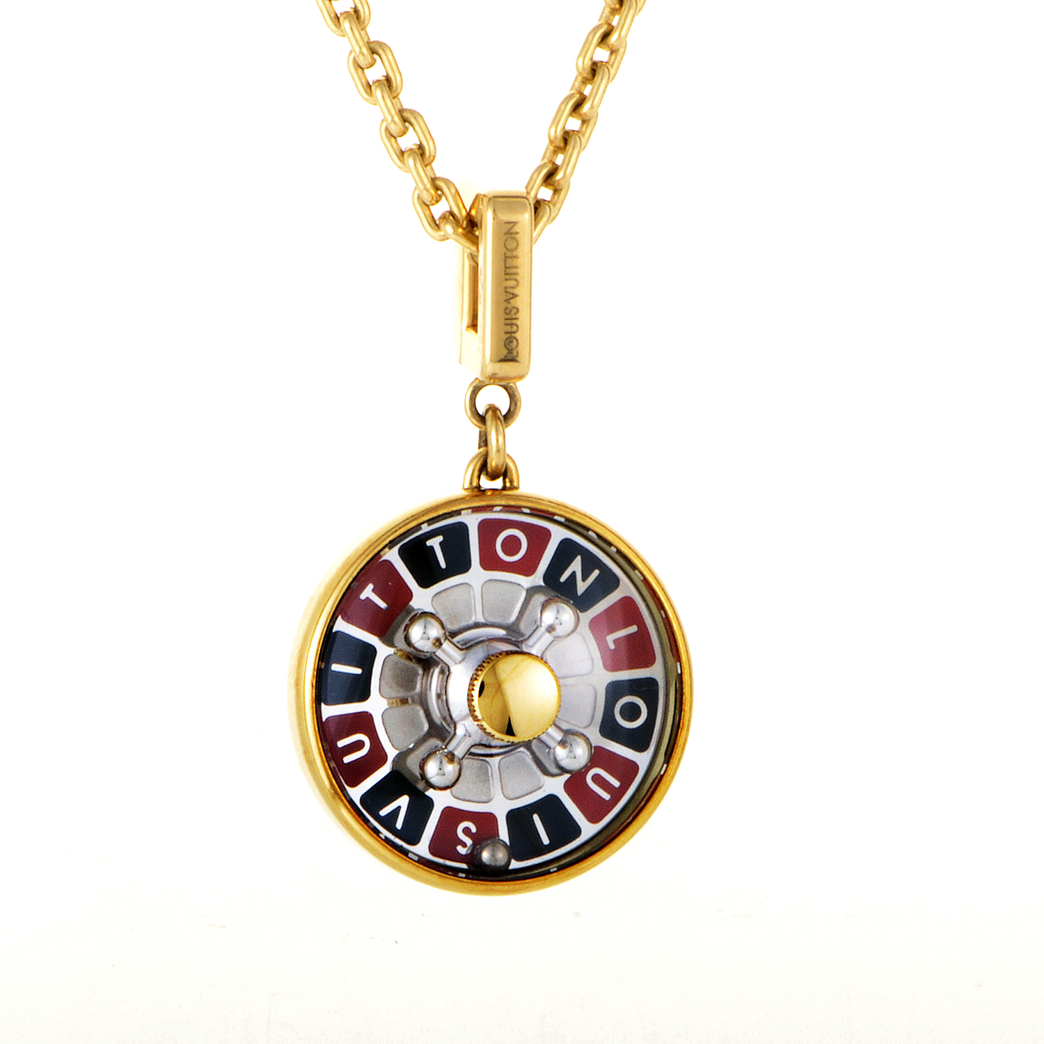 Louis Vuitton 18K Yellow Gold Roulette Pendant Necklace